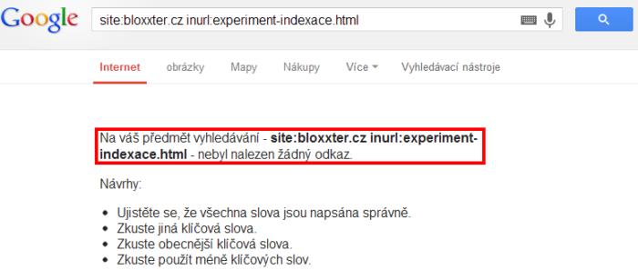 Výsledek testu indexace s Google Chrome