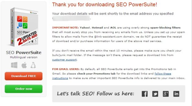 Thank You For Downloading SEO PowerSuite