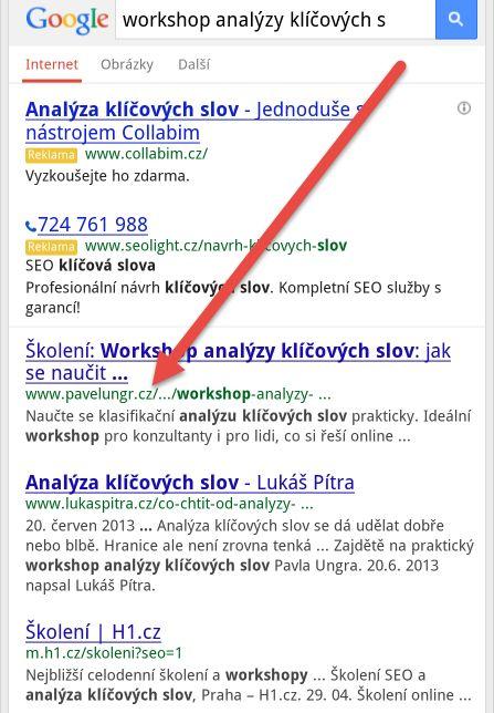 Screenshot aktuálního mobilního SERPu Google