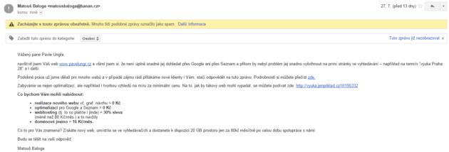 Jak vypadá SEO spam od Banán.cz