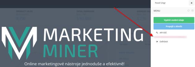 Zjištění API klíče - Marketing Miner