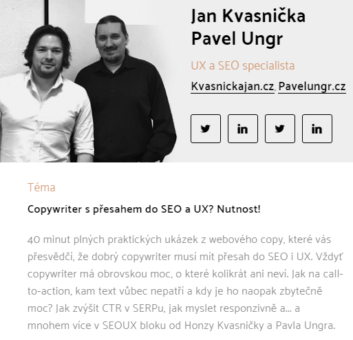 Pavel Ungr a Honza Kvasnička pro Copycamp 2016