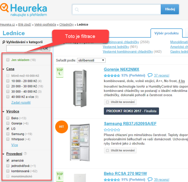 Ukázka filtrace na Heuréka.cz